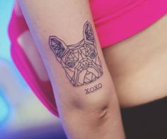 Polygon french bulldog tattoo on the tricep. source