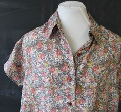 silk floral pastel short sleeve button up shirt m by cheapopulance, $35.00