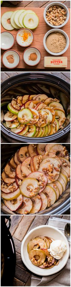 Slow Cooker Scalloped Apples. A sweet buttery sauce covers these apples in the crock pot. Great with ice cream!