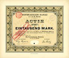 HWPH AG Hofbrauhaus Hanau vorm. G. Ph. Nicolay Hanau, 20.02.1897, Aktie über 1.000 Mark, später auf 400 RM umgestempelt