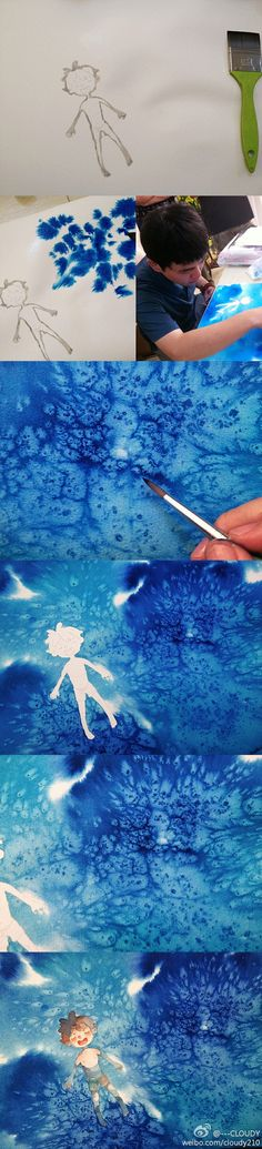.Step by step watercolor painting.