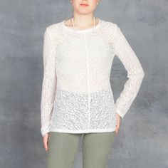 Raquel Allegra Long Sleeve Lace Tee in Ivory – Tamarind