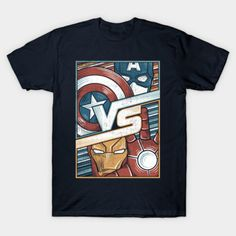 #Marvel Comics: Captain America vs Iron Man t-shirt.