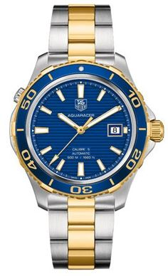 Tag Heuer Aquaracer Blue Dial Yellow Gold Plated and Stainless Steel Mens Watch WAK2120.BB0835 - List price: $3,500.00 Price: $2,475.00 Saving: $1,025.00 (29%)