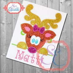 Reindeer Peeker Girl Applique Design For Machine by SewEmbroidable