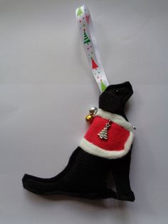 Handmade black felt Christmas Labrador type dog hanging decoration by CraftyBunnyDog on Etsy