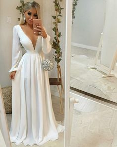 Boho Prom Dress, Prom Dresses Evening Party Gown V-neck prom dress ,white prom gown Attractive Dress Blush Prom Dress, V Neck Prom Dresses, Bridesmaid Dresses, Formal Dresses, Wedding Dresses, Dress Prom, Evening Party Gowns, Evening Dresses, Popular Dresses