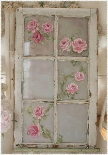 Old window with pink roses painted on it. ~ Keep Calm and DIY!: 75 of the Best Shabby Chic Home Decoration Ideas