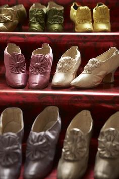 1880's, shoes, in different colours, of Empress Maria Fyodorovna, on French heels.