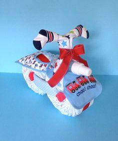 Diaper Motorcycle Choo Choo Train Diaper by PamperedBabyCreation