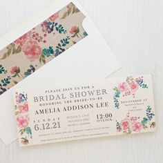 Set the tone of your bridal shower with Spring Floral, Beacon Lane's floral style invitations with patterned envelope liners specially made for your party