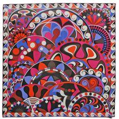 Emilio Pucci - Vintage Emilio Pucci Scarf Vintage New Old Stock found on… Textile Patterns, Textile Prints, Textile Design, Print Patterns, Textiles, Emilio Pucci, Pocket Squares, Chic Et Choc, Scarf Design