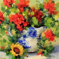 """Bright Side Geraniums by Texas Flower Artist Nancy medina"" - Original Fine Art for Sale - © Nancy Medina"