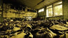 An inside view of the deserted building around the Chernobyl Nuclear Power Station's Reactor No. 4 in Pripyat, Ukraine. The reactor exploded in 1986, killing 43 people instantly and up to 10,000 from radiation-related illnesses since then. (