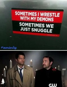 "I feel like Castiel's face is saying ""Oh you..."" To Crowley..."