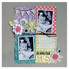 tilted photos in block design on this scrapbook layout by Lisa Dickinson