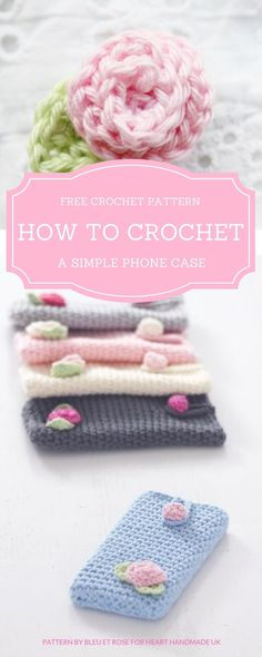 Grab your free crochet pattern and crochet a phone cover with pretty flower & leaf decoration. A simple and small crochet project that can be finished quickly. http://www.hearthandmade.co.uk/crochet-iphone-cover/?utm_campaign=coschedule&utm_source=pinterest&utm_medium=Heart%20Handmade%20UK&utm_content=How%20To%20Crochet%20A%20Phone%20Case