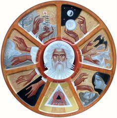 Creation of the World  (2013, D=60, board, levkas, acrylic, gilding)  (Ukrainian art)
