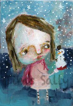 LITTLE SNOW BUDDY original 3x5 by Mindy by mindylacefield on Etsy