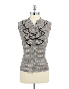 Women's Apparel   Blouses & Button Downs   Petite Ruffled Collar Sleeveless Blouse   Lord and Taylor