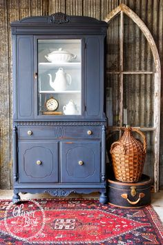 Gorgeous! I love this piece by Oliver and Rust || #missmustardseed #milkpaint in #artissimo with brass and white hardware on an antique china cabinet