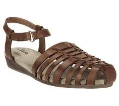 Clarks Huarache Wedge Leather Sandals - Jaina Canary