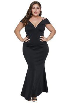 cded32d46f Black Cold Shoulder Plus Size Evening Dress Evening Dresses Plus Size