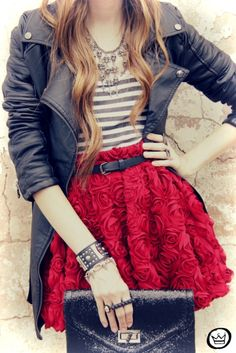 Red Rosette A-line Skirt + Gray Striped Top + Motorcycle Jacket + Statement Necklace + Black Leather Skinny Belt + Envelope Clutch