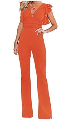 Gocgt Womens Summer Spaghetti Strap V Neck Jumpsuits Sleeveless Long Pants Casual Jumpsuits Rompers