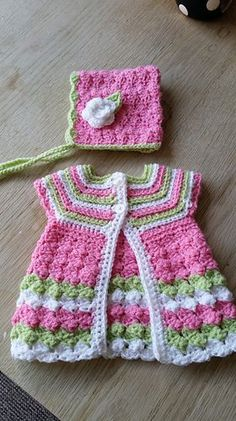 "Baby Cardigan ""Stripes and Bubbles""  by Kinga Erdem - FREE Baby Sweater Crochet Pattern"