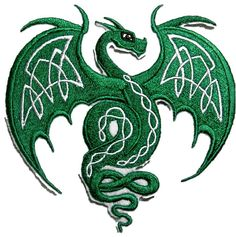 """Amazon.com: [Single Count] Custom and Unique (4.7"""" x 4.7"""" Inch) """"Fantasy"""" Mythical Creature Celtic Flying Dragon /w Knotwork Iron On Embroidered Applique Patch {Green, White, & Black Colors}"""