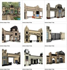 ★Sketchup Types of Artdeco Entrance Design Sketchup Models Sketchup models collection can be used in your design max,Revit) Door Gate Design, Entrance Design, Entrance Gates, 3d Model Architecture, Concept Architecture, Architecture Details, Famous Architecture, Interior Architecture, Compound Wall Design