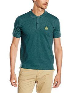 SELECTED HOMME Herren Poloshirt Aro Ss Embroidery T, Einfarbig, Gr. X-Large, Türkis (Atlantic Deep)