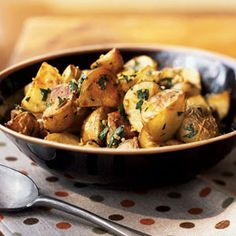 Garlicky Roasted Potatoes with Herbs | CookingLight.com