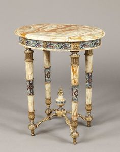 A French Antique Occasional Table (France)  Ormolu and Marble