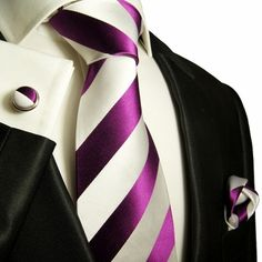 Purple and White Paul Malone Silk Tie Set .