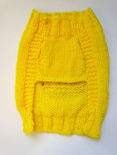 Hamburger Knitted Dog Sweater Handmade Yellow by burymeinleaves