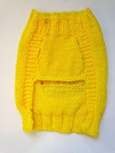Hamburger Knitted Dog Sweater Handmade Yellow by burymeinleaves