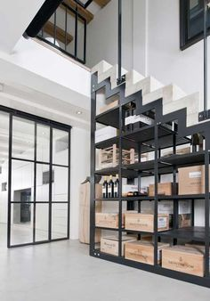 Concrete and steel stairs in old renovated canal house in Amsterdam