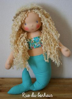 Mermaid doll with curly blonde hair and liberty top, Waldorf doll - Textile Doll-Fabric - Doll-Rag - Doll-Home Decoration - Handmade Toy poupée Waldorf, poupée sirène