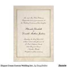 Elegant Cream Custom Wedding Invitation