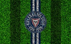 Download wallpapers Holstein Kiel FC, 4k, German football club, football lawn, logo, emblem, white blue lines, Bundesliga 2, Kiel, Schleswig-Holstein, Germany, football, grass texture