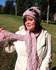 Scarf and hat, Crochet Scarf and hat set in pink, basket weave, by OnceUponARoll, $35.00 USD