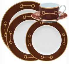 Cheval Chestnut Brown Fine Dinnerware. Fine porcelain designed by equestrian artist Julie Wear. A sleek twist on the iconic equestrian snaffle bit. Hand-decorated in the USA.