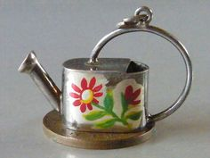 Vintage Sterling Silver Charm Rare Large Enameled Watering Can