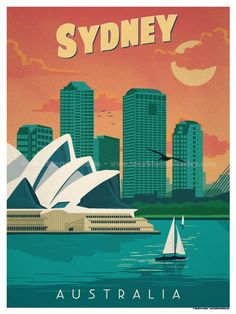 Vintage Poster Image of Vintage Sydney Poster - Size - Digital Print on 80 lb cover matte white *SHIPPING DETAILS* Items will be mailed out in tubes within 3 days after order. Sydney Australia, Australia Travel, Amsterdam Dance Event, Poster Ads, Poster Prints, Posters Paris, Posters Australia, Art Deco Posters, Vintage Design