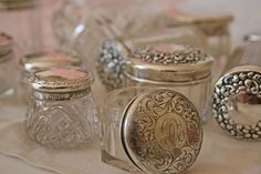 Vintage silver and glass vanity jars. Vintage Love, Vintage Beauty, Vintage Silver, Antique Silver, Tarnished Silver, Vintage Romance, Antique Glass, Vintage Style, Bottles And Jars