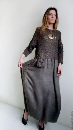 Boho Outfits, Dress Outfits, Fashion Dresses, Knit Fashion, Boho Fashion, Womens Fashion, Diy Clothes, Clothes For Women, Linen Dresses