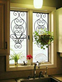 Tuscan design – Mediterranean Home Decor Kitchen Sink Window, Bathroom Windows, Kitchen Curtains, Kitchen Decor, Kitchen Sinks, Kitchen Ideas, Kitchen Centerpiece, Kitchen Plants, Kitchen Windows