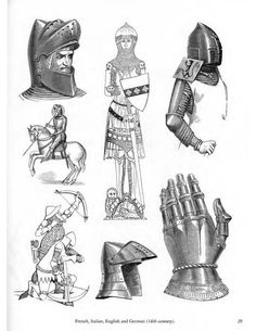 Pictorial Archive From XIX century Sources by Carol Grafton How To Draw Weapons, Types Of Armor, Castle Drawing, Knight Armor, Arm Armor, Medieval Armor, Drawing Reference Poses, Knights Templar, Coat Of Arms